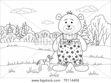 Teddy bear with toy horsy, contours