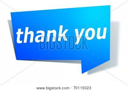 An image of a stylish blue design label with text thank you poster