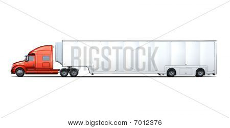 Side Rendering Of Red And White Semi-truck