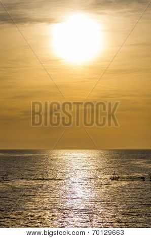 Wondrous Big Sun Above The Silky Ocean Surface
