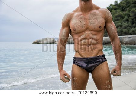 Strong muscular fit man posing in a swimsuit on a tropical beach showing off his powerful physique anonymous torso view poster
