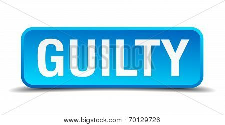 Guilty Blue 3D Realistic Square Isolated Button