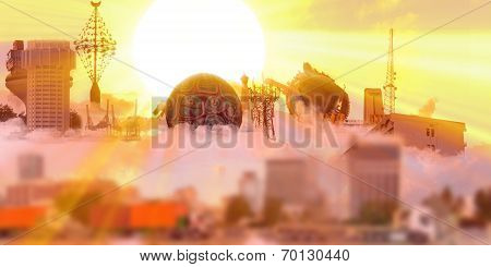 sunset with Landmarks