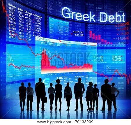Group of People Discussion about Greek Debt Crisis