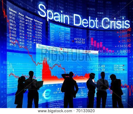Group of People Discussion about Spain Debt Crisis