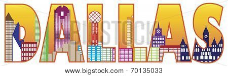 Dallas City Skyline Text Outline Color Illustration