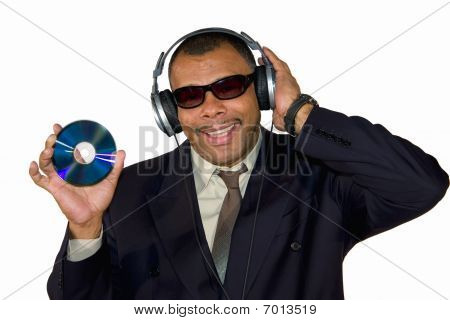 smiling soulman showing audio CD