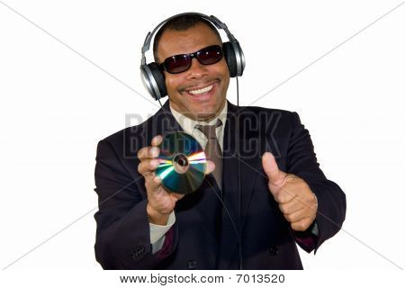 smiling soulman showing an audio CD and posing thumbs up