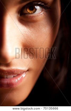 Beauty Portrait Of Smiling Young Brunette Woman