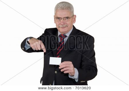 senior magager pointing at business card