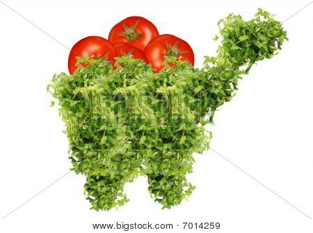 parsley and tomatoes shopping cart