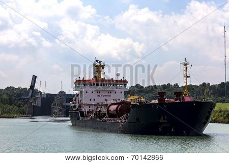 Tanker leaves loch on the Welland Canal in Canada