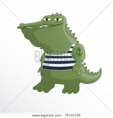 Crocodile sailor in striped vest and with a tattoo. poster