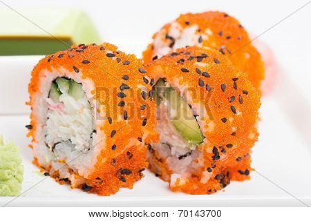 Sushi rolls with tobico
