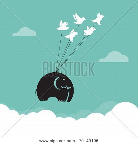 Vector Image Of Bird And Elephant In The Sky, Represents The Unity