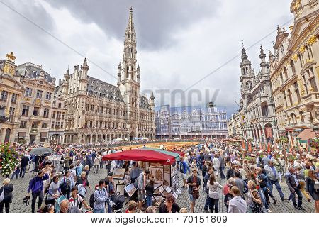 Giant Carpet At Grand Place In Brussels