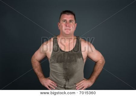 Sweaty Muscular Man After Workout