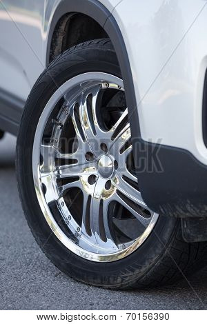 Steel Disc Wheels On The Car