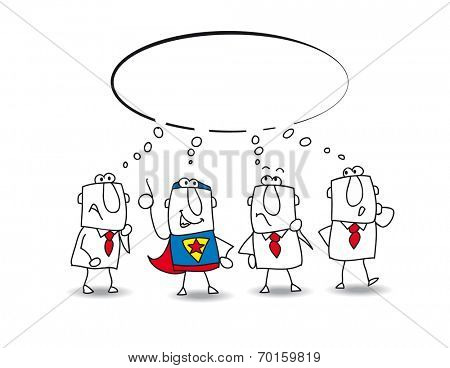 think tank with a superhero. this teamwork thinks about a lot of ideas with a super businessman