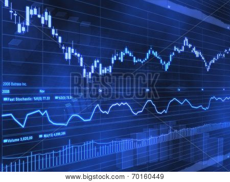 Stock Market Chart on Blue Background