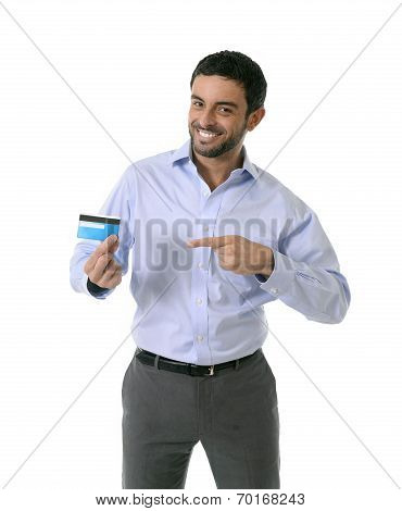 young attractive smart casual man wearing blue shirt showing credit card smiling happy isolated on white background in financial sucess online shopping e-commerce and banking concept poster