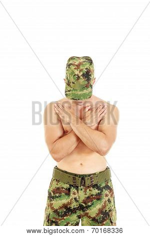 Military Combatant Officer Praying With Arms Crossed And Head Bowed