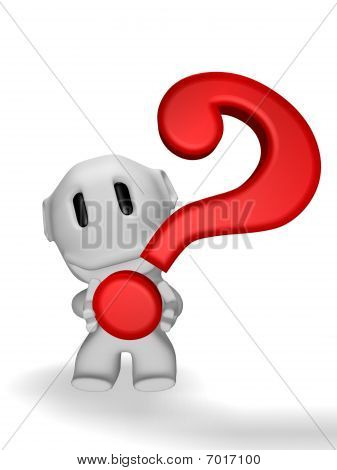 caricature of smiling man with question