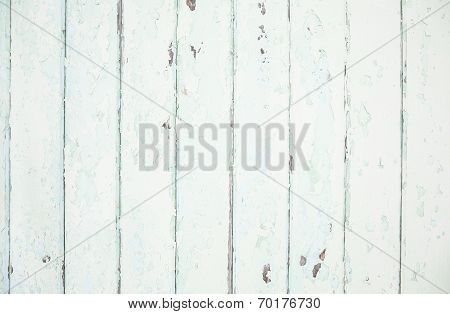 Old Wood Shabby Chic Background In Mint Green Pastel Color.
