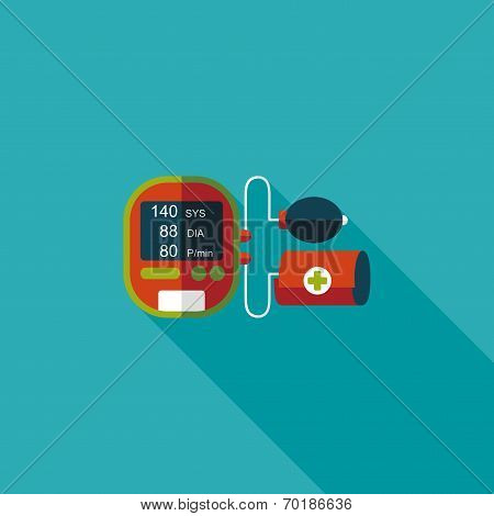Sphygmomanometer Blood Pressure Flat Icon With Long Shadow