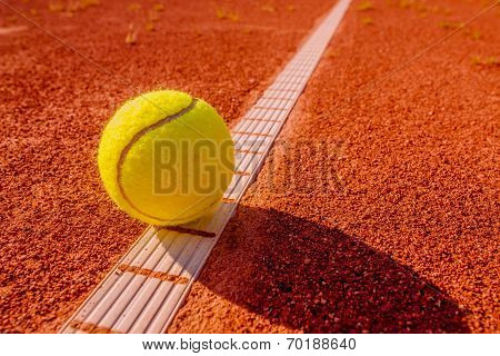 Yellow Tennisball On The Line