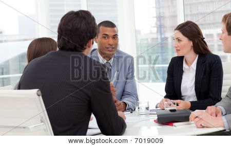 Ambitious business group having a meeting