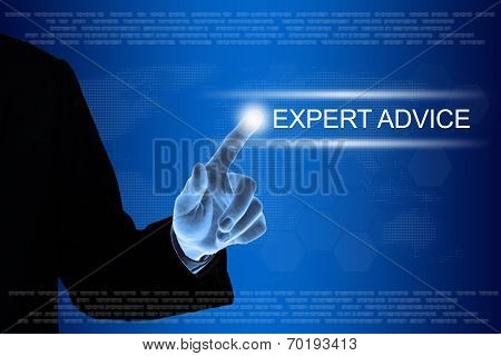 Business Hand Clicking Expert Advice Button On Touch Screen