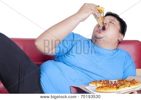 Obese Person Eats Pizza
