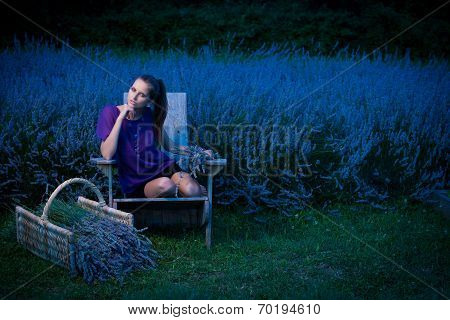 Beautiful Young Woman On Lavander Field At Dusk - Lavanda Girl