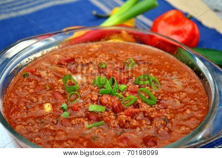 Beef Chili with Green Onions and Spicy Hot Peppers poster