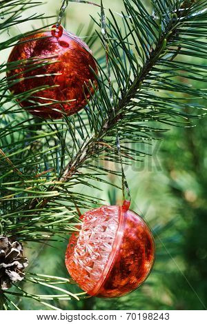 Two Red Balls On Christmas Tree