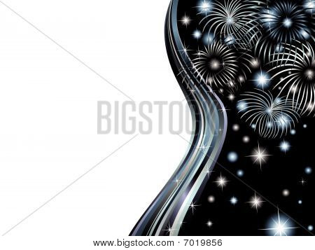 wavy bright frame with salute and stars