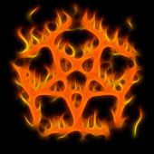 Abstract of mystery pentagram-symbol. Flame-simulated on black background. poster