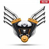 Motorcycle engine with metal wings of tailpipe. Vector Illustration Isolated on white background. poster