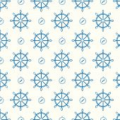 vector seamless pattern ship wheels and compass texture background poster