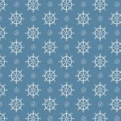 vector seamless pattern ship wheels and compass texture blue background poster