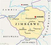 Political map of Zimbabwe with capital Harare, with national borders, most important cities, rivers and lakes. Illustration with English labeling and scaling. poster