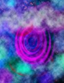 A colorful abstract image of a cloudy background and a spiral poster