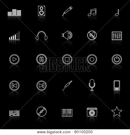 Music Line Icons With Reflect On Black Background