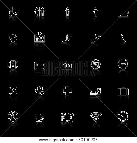 Public Line Icons With Reflect On Black Background