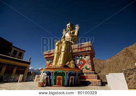 Golden Maitreya Buddha statue in Likir Monastery Ladakh ,India