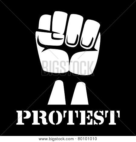 Raised fist, sign of protest and revolution