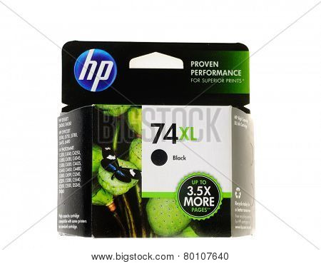 Hayward, CA - January 11, 2015: Packet of Hewlett Packard 74XL Black ink for a ink jet printer