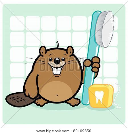 Vector Illustration of a cute beaver smiling and holding a toothbrush and dental floss. poster