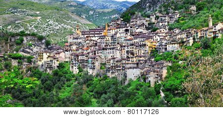 picturesque mountain village Saorge, Alpes Maritimes , France